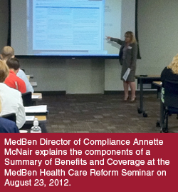 Annette McNair speaks at the MedBen Health Care Reform Seminar.